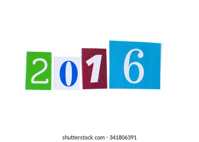 Paper Cutout 2016 Year Number Isolated on White Background