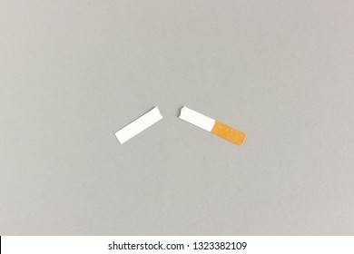 Paper cutout of cigarette torn apart for quit smoking concept on gray background