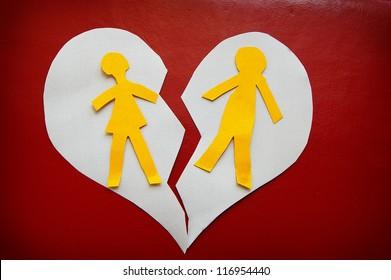 paper cutout couple on a torn heart -  divorce concept