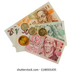 Paper czech koruna with coins.