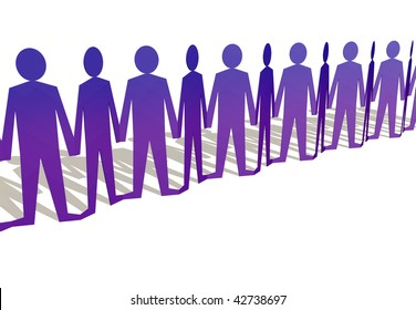 Paper doll type human figures holding hands in a row
