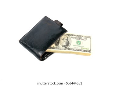 Paper dollar bills in a leather wallet as an element of conservation and trade system