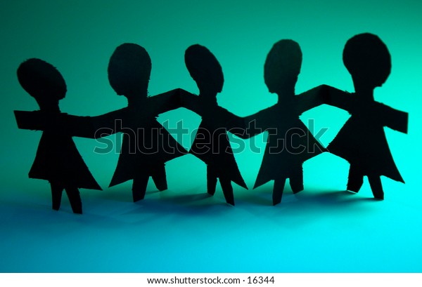 Paper dolls with a green background