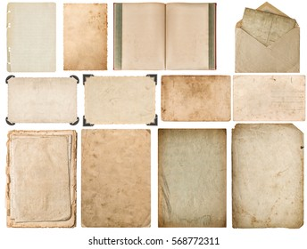 Paper with edges, book, envelope, cardboard, photo frame corner isolated on white background. Set scrapbook objects