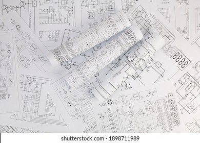 Paper electrical engineering drawings. Work of an electronic engineer.