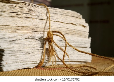 Paper from elephant dung, paper products from elephant poop fibers. Mulberry paper.