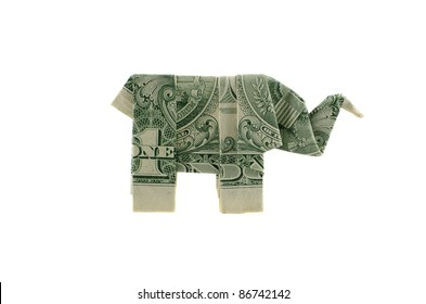 Paper elephant origami of one dollar isolated