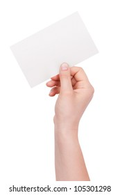 Paper envelope in his hand of man on a white background