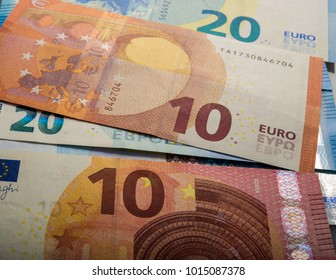 paper euro notes. Ten and twenty euros. Currency of the European Union.