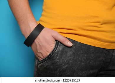 Paper event black bracelet mockup, wristband design. Identification wrist, adhesive.