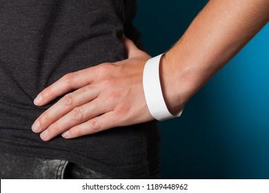 Paper event white bracelet mockup, wristband design. Identification wrist, adhesive.