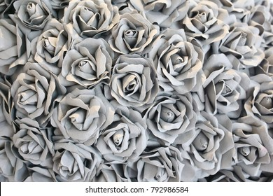 paper and fabric colorful rose background. pink  grey green blue color hand craft flower backdrop in valentine concept