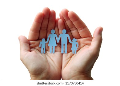 Paper family in hands isolated on white background welfare concept