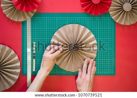 Paper Fan Tutorial Origami Flowers Simple Stock Photo Edit Now