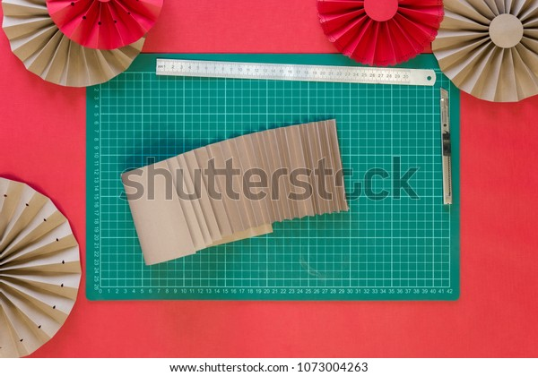 Paper Fan Tutorial Origami Flowers Simple Stock Photo (Edit Now