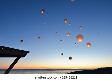 Paper Floating Lanterns release on Grouse Mountain, Vancouver, BC