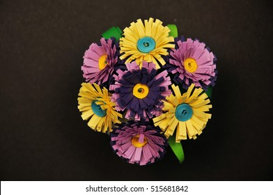 Paper flower bouquet made with quiling technique (made by myself)
