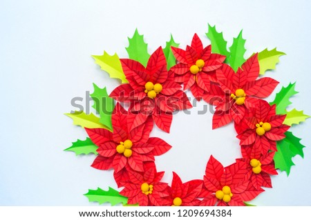 Paper Flower Poinsettia Leaves Holly Christmas Stock Photo Edit Now