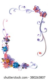 Paper flowers quilling frame with batterflies