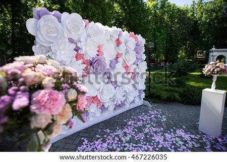 Paper flowers wedding decor luxury wedding stock photo edit now paper flowers in wedding decor luxury wedding decorations for ceremony wedding arch with flowers mightylinksfo