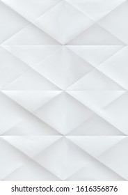 Paper folded in rhombuses. Seamless pattern with a white paper texture folded.