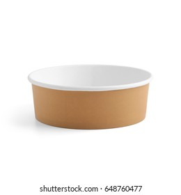 Paper food container isolated on white background. Packaging template mockup collection. With clipping Path included.