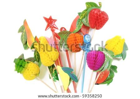 paper fruits plastic cocktail decorations stock photo edit now
