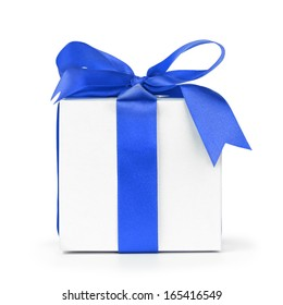 paper gift box wrapped with blue ribbon, isolated on white