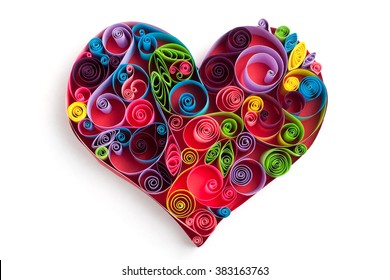 Paper heart made in quilling craft technic