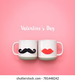 Paper heart shape fake lips and mustaches decoration on pink cup over pink background with word valentine's day. Valentine's day and wedding concept. Minimal style.