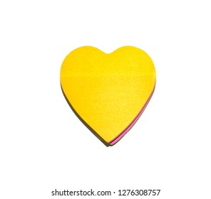 Paper heart sticker with empty surface copy space on white background