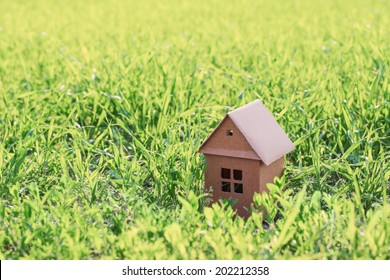 paper house on spring grass