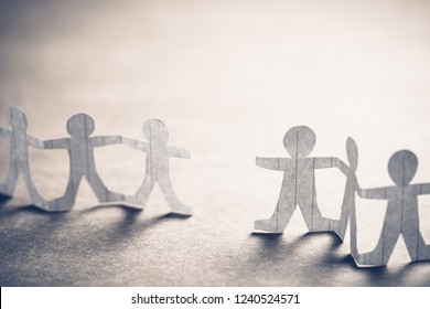 Paper human chain with gap space, or blank of missing doll, connection concept