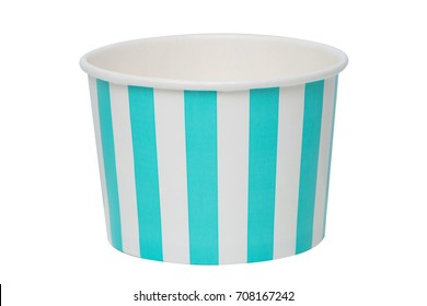 Paper ice cream cup isolated on white background.