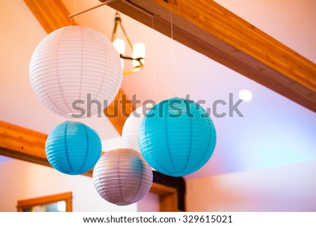 Paper Lanterns Hung Ceiling Wedding Reception Stock Photo Edit Now