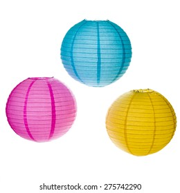 Paper Lanterns isolated on white background