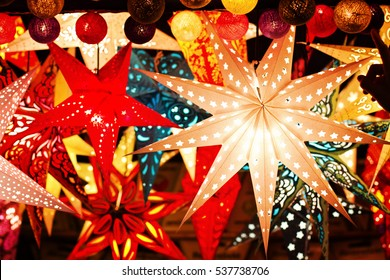 Paper lightning lantern in star form, christmas decoration