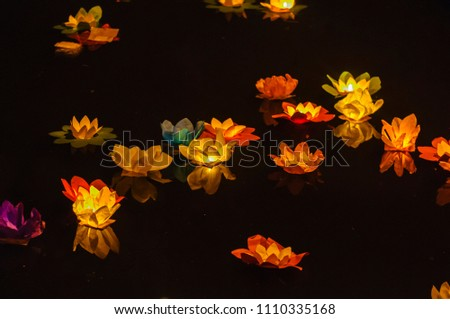 paper lotus flowers candles float on stock photo edit now