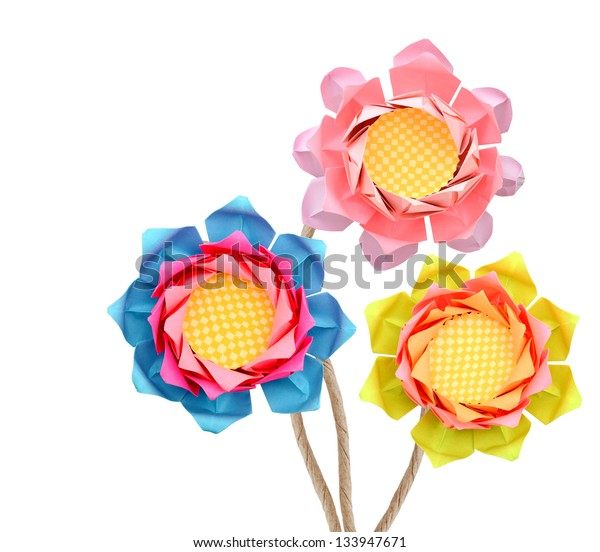 Paper lotus origami bouquet branches isolated white background