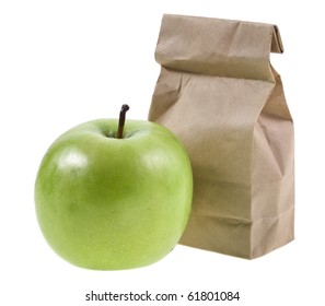 paper lunch bag with fresh apples isolated over white background