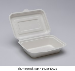 paper lunch box over grey background