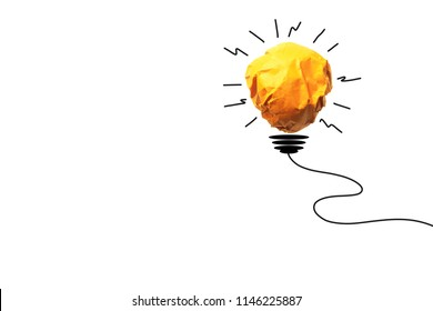 Paper make to light bulb for idea power energy concept on white background.