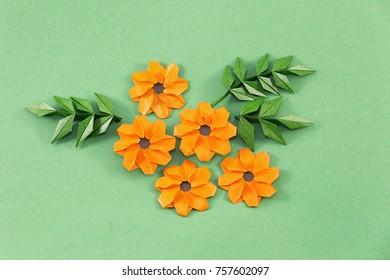 Paper marigold flowers origami