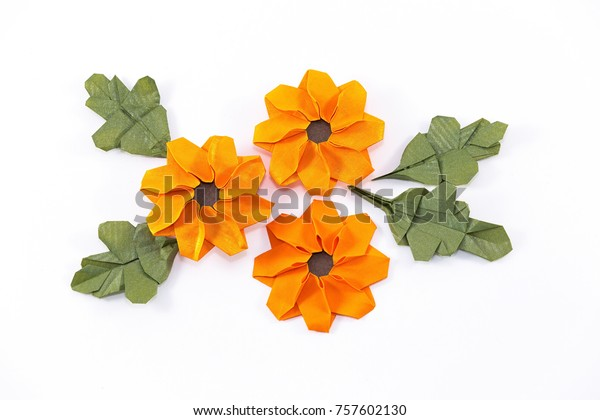 Paper Marigold Flowers Origami Stock Photo Edit Now 757602130