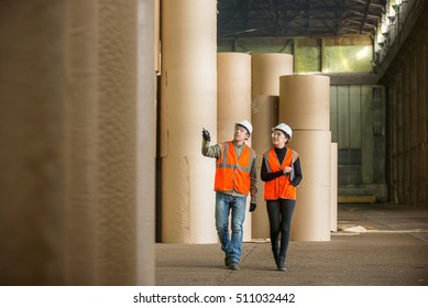 Paper mill factory workers