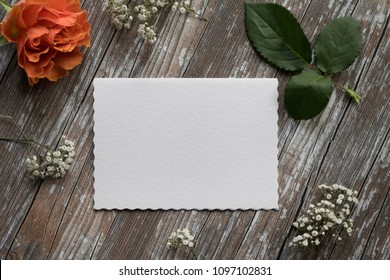 Paper mockup with roses, little anchor and baby breath