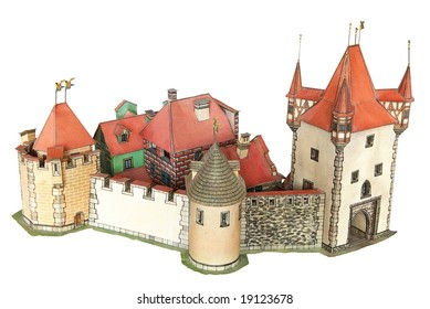 Paper model of an old bastion-ed town with entry port tower