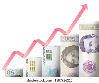 Paper money bills growing in size and value looking like a financial growth graph