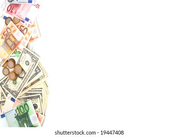 Paper money and coins for a white background.
