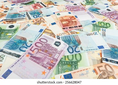 paper money euro. background of banknotes for the screen saver on the monitor.